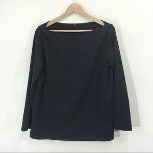 COS Black Cotton Longsleeve Shoulder Pleat Large